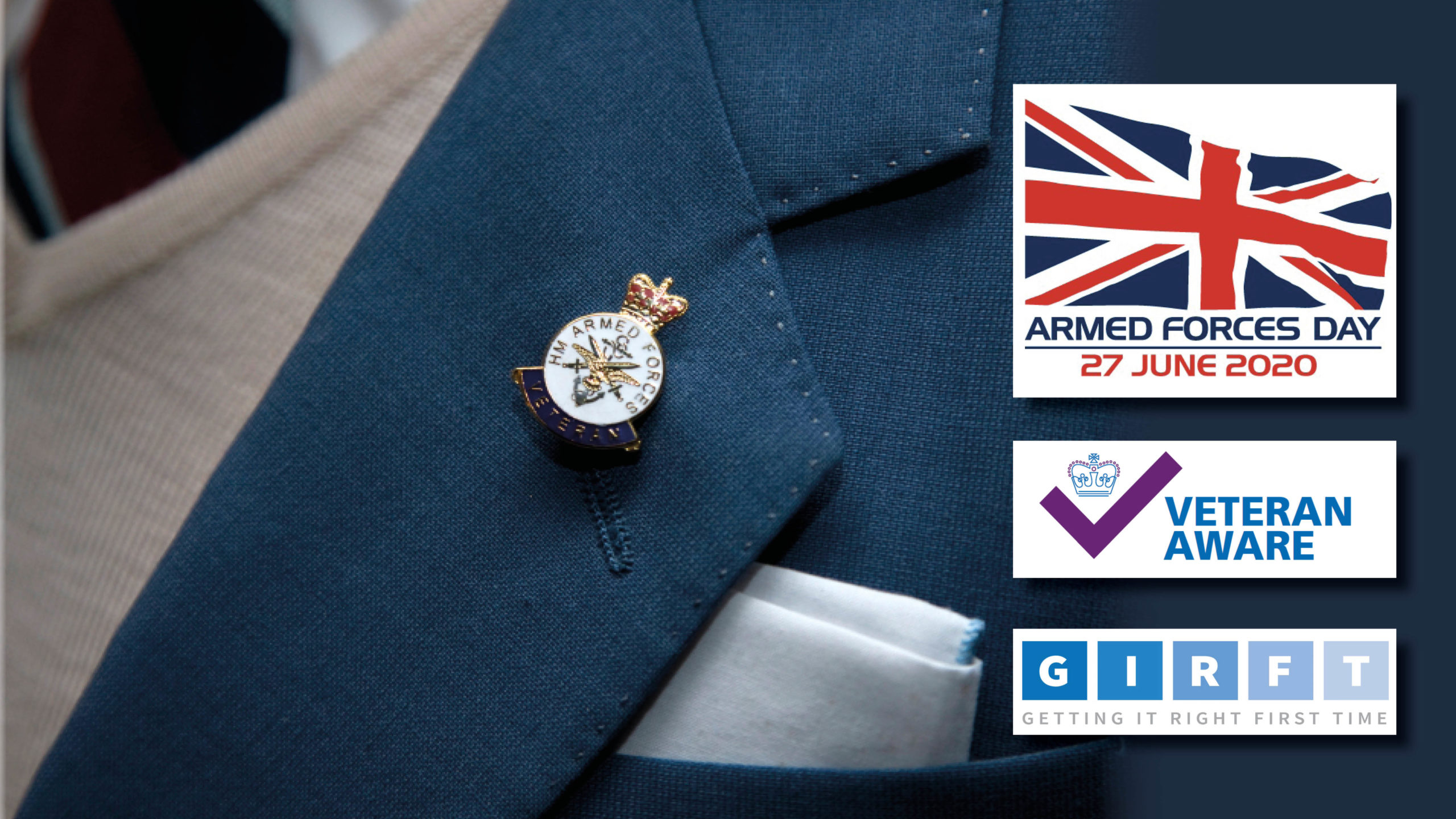 Generic image of a Forces veteran with logos for Armed Forces Day, VCHA and GIRFT
